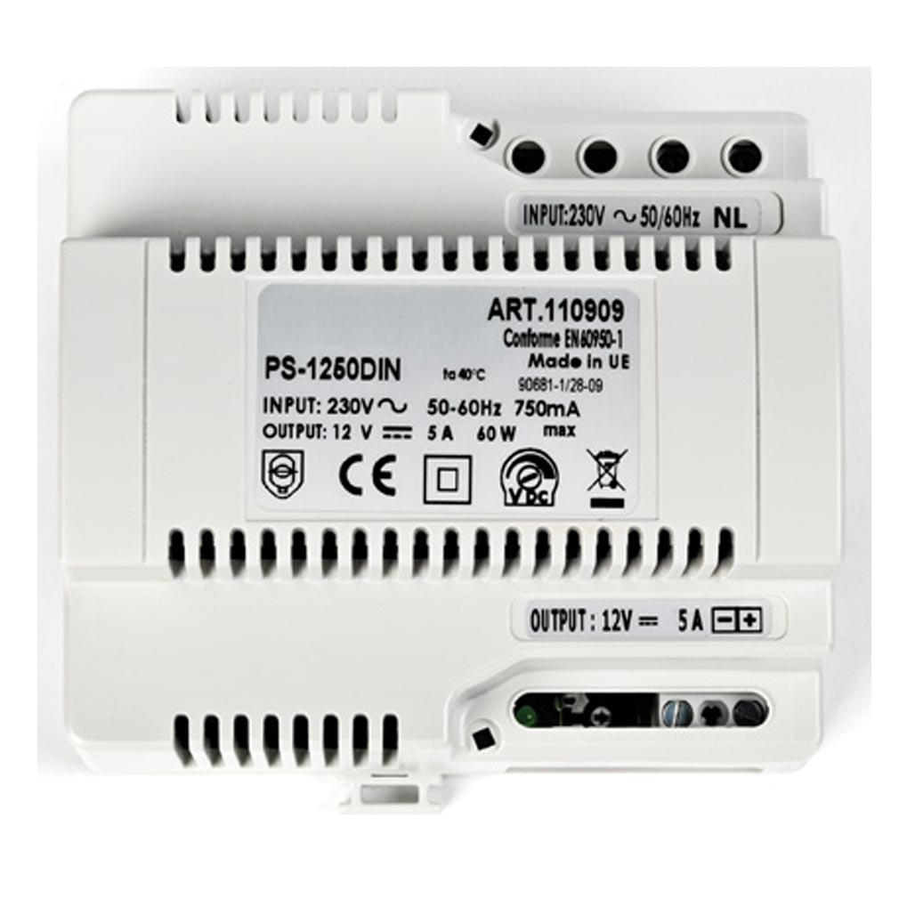 Aiphone - AIP110909 - PS1250DIN Alimentation 230 Vac / 12 Vcc - 5 A