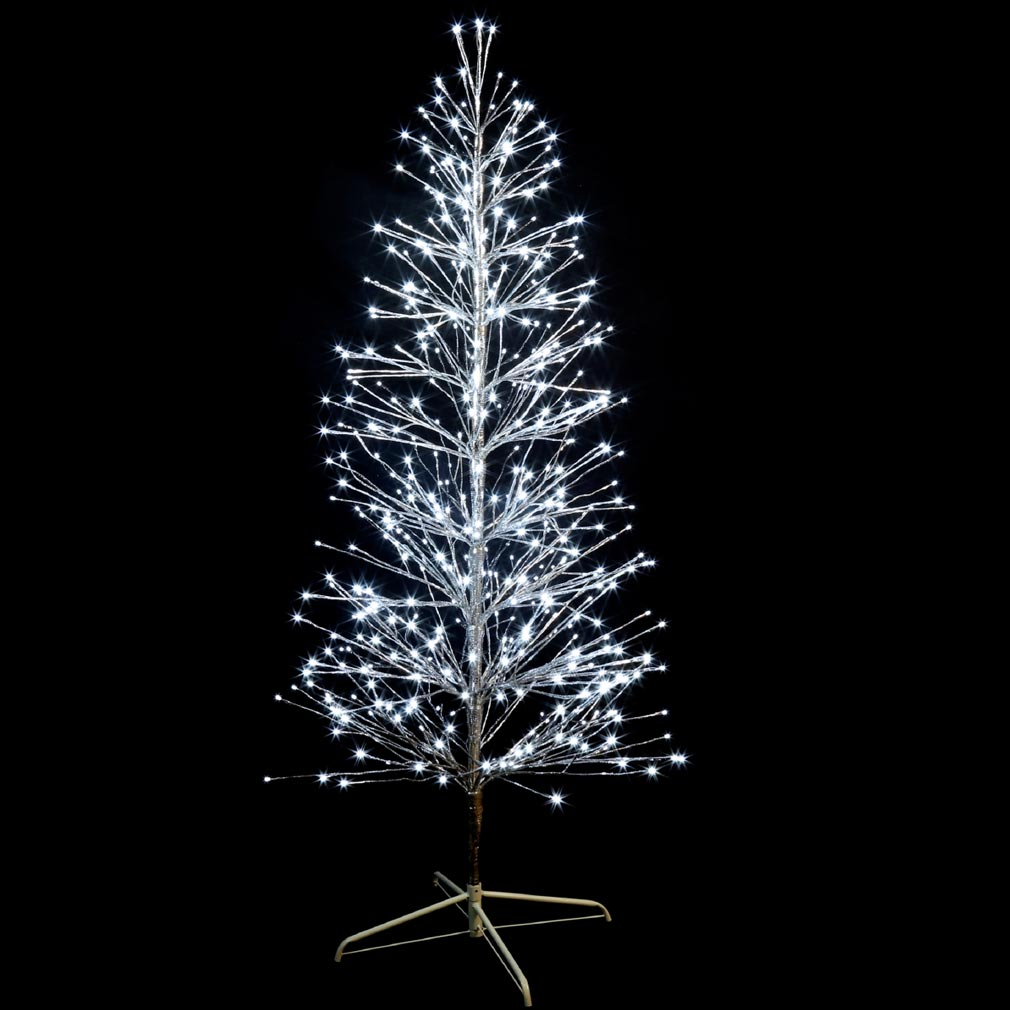 Festiligh - FEH40479AP0 -  SPRAY- Sapin spray argent H1,50m- 320LED Blanc pétillant