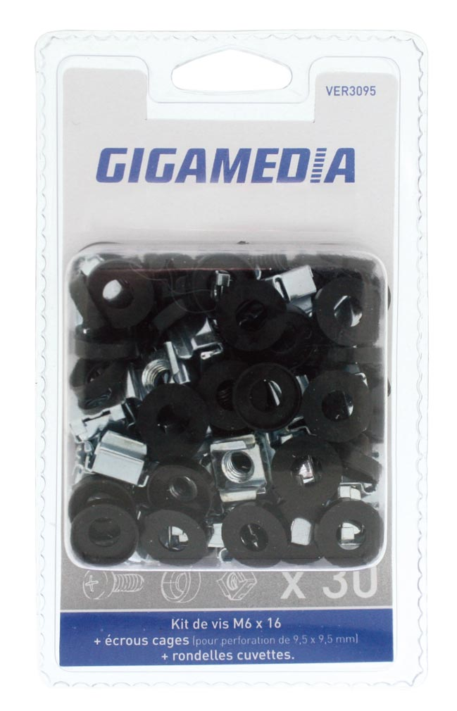 Gigamedia - GGMVER3095 - GIGAMEDIA VER3095 - LOT 30 VIS ROND CAGES 9,5MM