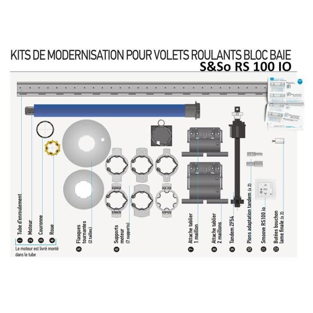 Somfy - SYF1030135 - KIT BLOC BAIE REMPLACEMENT & MOTORISATION 6/17 RS100 IO